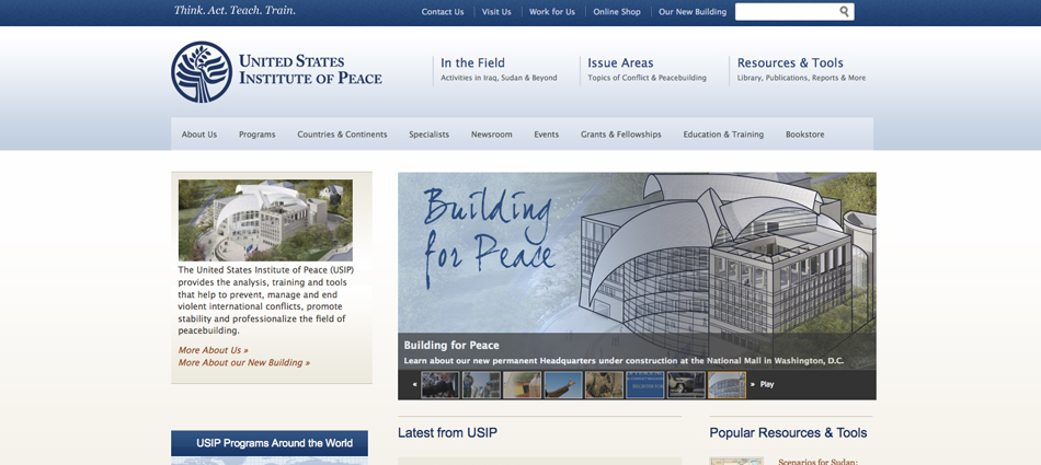 Screenshot of United States Institute of Peace