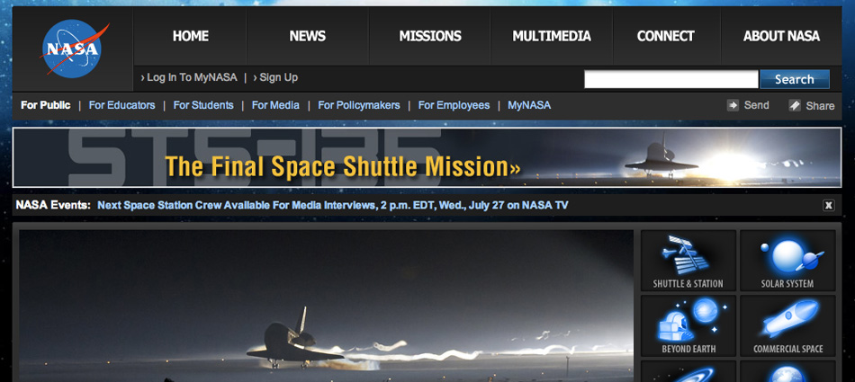 Screenshot of STS-135 Banners on NASA Homepage