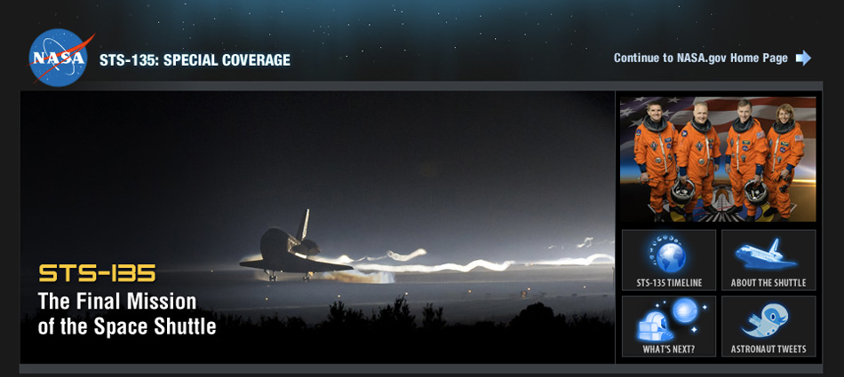Screenshot of STS-135 Special Coverage Page