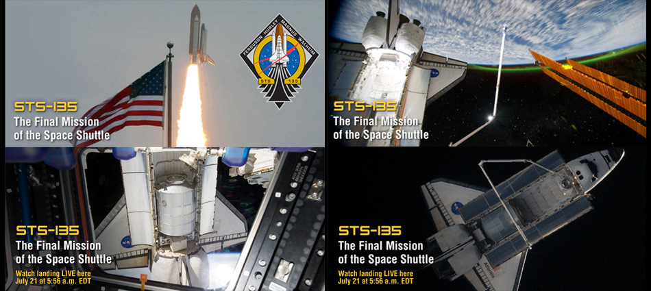Screenshots of STS-135 Special Coverage Banners