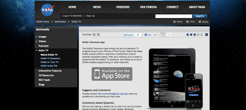 Screenshot of NASA App Template