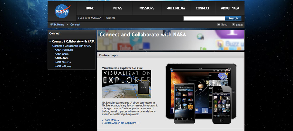 Screenshot of NASA Apps