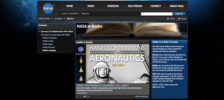 NASA e-Book Library screenshot